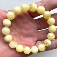 WHITE Color Genuine Amber round bracelet 11 mm
